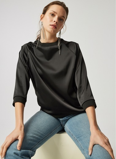 Monamoda Mat Saten Yakası Ribana Bluz Siyah